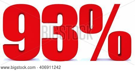 93 Percent Off 3d Sign On White Background, Special Offer 93% Discount Tag, Sale Up To 93 Percent Of