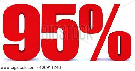 95 Percent Off 3d Sign On White Background, Special Offer 95% Discount Tag, Sale Up To 95 Percent Of