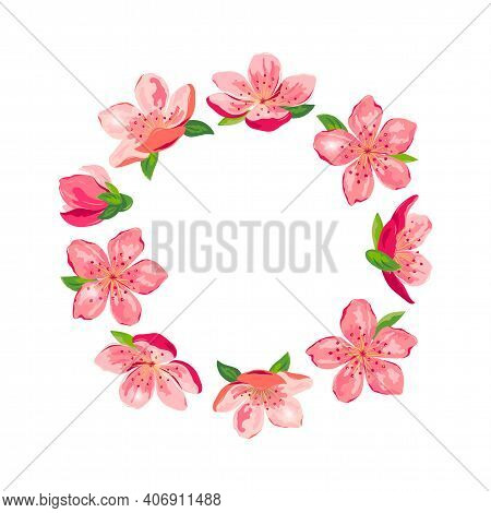 Blossom Sakura, Cherry Flowers Wreath. Place For Text. Great For Spring Sale, Oriental Invite, Flyer