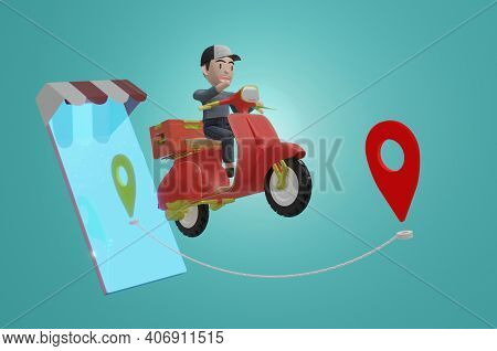 3D Illustration , Delivery Package By Scooter On Mobile Phone And Green Background. Order Package In