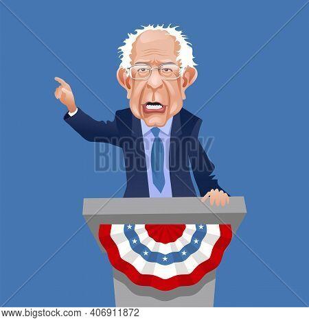 Asheville Nc, February 5, 2021. Caricature Of Bernie Sanders, Speaking And Gesturing. Democratic Sen