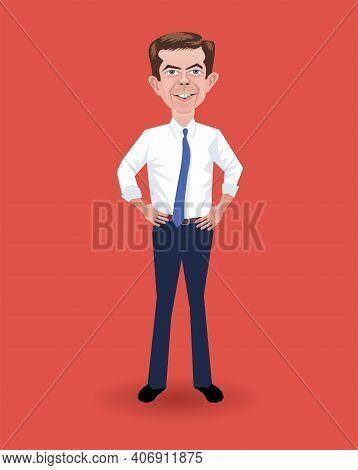 Asheville Nc, February 5, 2021. Cartoon Caricature Of Pete Buttigieg, Standing. Democrat And United