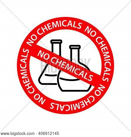 Vector No Chemicals Icon And Round Seal With No Chemicals Caption. Flat No Chemicals Icon Is Isolate