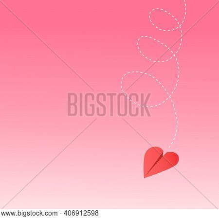 Heart Shaped Paper Airplane Spiraling Down. Valentines Day Illustration With Space For Text. For Soc