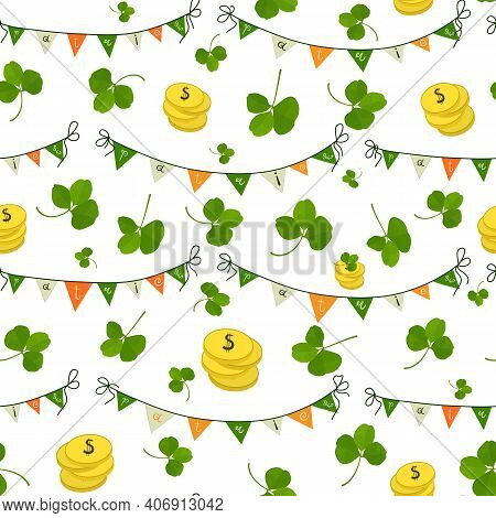 Pattern With Flags, Shamrock Leaves And Gold Coins In The Colors Of The Irish Flag On A Seamless Bac