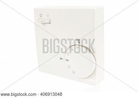 Digital Climate Thermostat Controlling Object. Close Up White Thermostat Isolated On White Backgroun