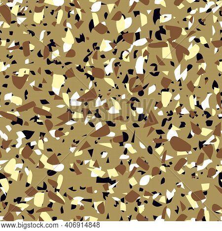 Geometric Brown Terrazzo Seamless Pattern. Abstract Colourful Modern Background. Stone Fashion Desig