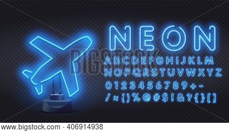 Blue Neon Plane Icon. Element Of Logistics Icons For Mobile Concept And Web Apps. Airplane Put-down.