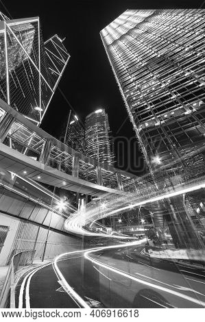 Car Traffic In Central District Of Hong Kong City At Night