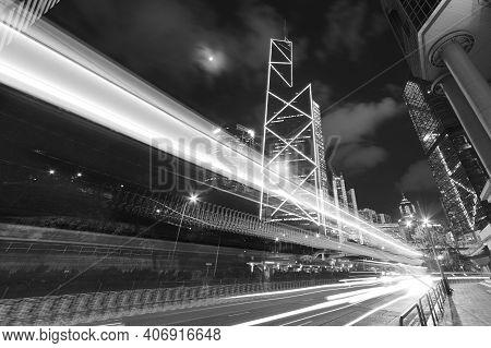Traffic In Midtown Of Hong Kong City At Night