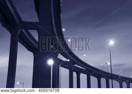 Night Scene Of Elevated Highway Or Bridge