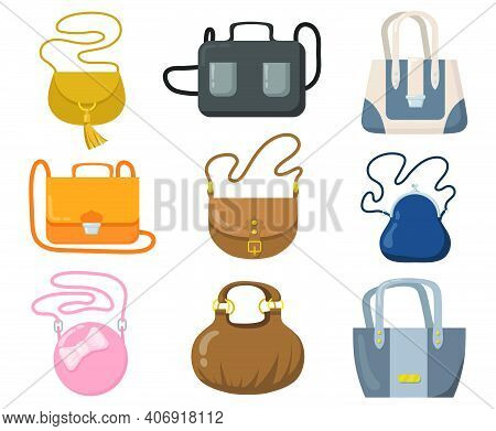 Luxury Handbags Set. Stylish Bags, Clutches And Purses With Handles And Shoulder Straps. Cartoon Vec