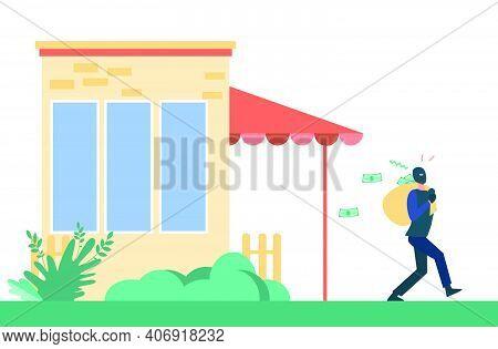 Man Breaking Into House And Robbing It. Burglar, Money. Flat Vector Illustration. Criminal Concept C
