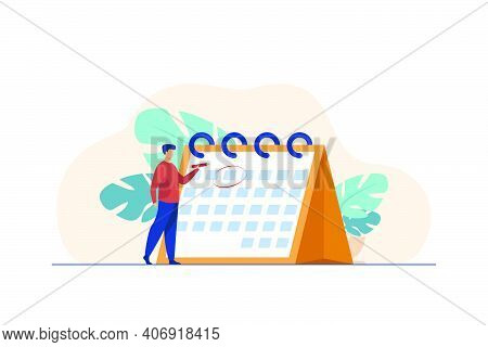 Manager Planning Event. Man Marking Date On Calendar Page Flat Vector Illustration. Scheduling, Time
