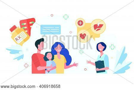 Parents And Kid Visiting Pediatrician. Couple With Child Consulting Family Doctor Or Assistant In Ph
