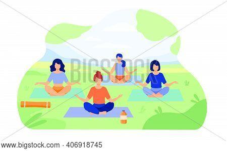 People Enjoying Outdoor Yoga Class In Park. Women Sitting On Grass In Lotus Pose. Vector Illustratio