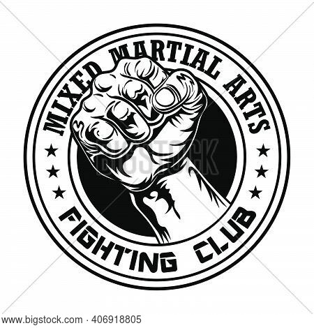 Fight Club Emblem With Fist. Boxing And Fighting Club Logo With Muscular Arm. Isolated Vector Illust