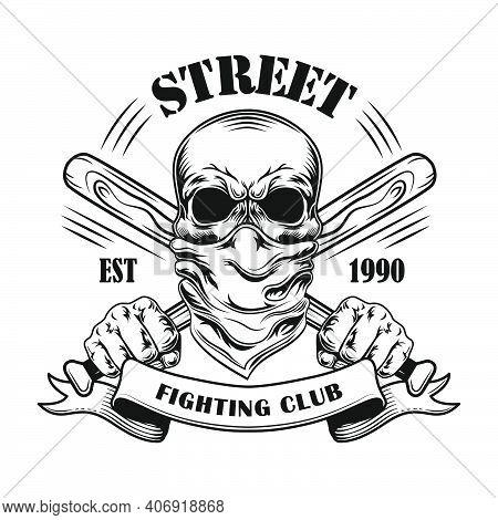 Street Fight Member Vector Illustration. Skull In Bandana, Crossed Baseball Bats And Text. Fight Clu