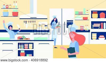 Professional Chefs Cooking At Restaurant Kitchen Flat Vector Illustration. Happy Cartoon Cooks Prepa