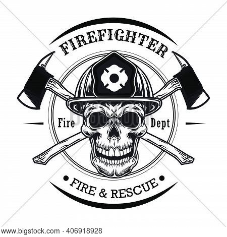 Firefighter With Skull Vector Illustration. Head Of Character In Helmet With Crossed Axes. Rescue Co