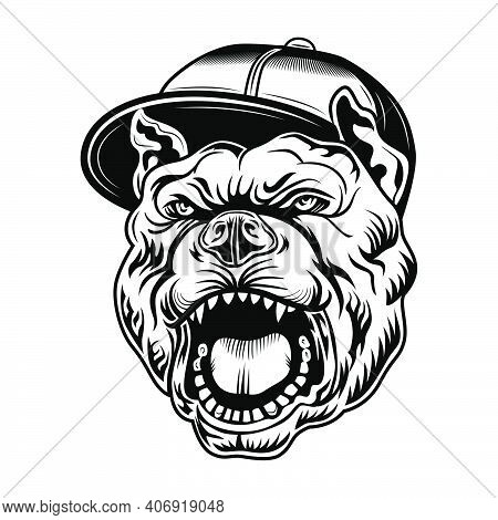 Gangsta Bulldog Vector Illustration. Head Of Aggressive Dog In Gangsters Cap. Lifestyle Concept For