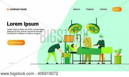 Surgeons Team Surrounding Patient On Operation Table Flat Vector Illustration. Cartoon Medical Worke