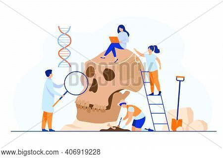 Tiny Anthropologists Studying Neanderthal Skull Flat Vector Illustration. Cartoon People Doing Dna A