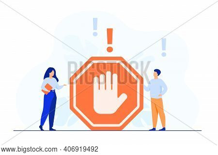 Tiny People Standing Near Prohibited Gesture Isolated Flat Vector Illustration. Cartoon Symbolic War