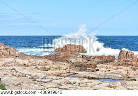 Wild Waves Splashing Against The Rocks In Costa Da Morte Region. Galicia, Spain.