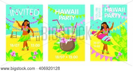 Hawaii Invitation Card With Woman On Beach. Hawaii, Cocktail, Surfing, Party. Vector Illustration Ca