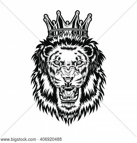 Lion King Vector Illustration. Head Of Angry Roaring Male Animal With Mane And Royal Crown. Power Co