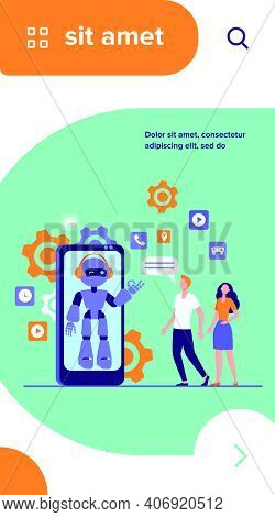 Young Couple Chatting With Robotic Assistant On Smartphone Screen. Chatbot Helping Customers With Th