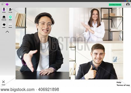 Video Call. Distance Meeting. Online Teamwork. Business Telecommuting Wfh. Cheerful Asian Male Ceo G