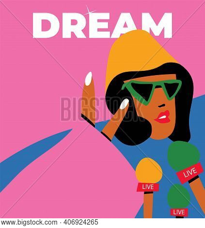 Beautiful American Portrait Of Black African American Celebrity For Lifestyle Design. Young African