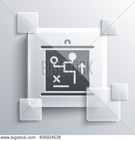 Grey Planning Strategy Concept Icon Isolated On Grey Background. Cup Formation And Tactic. Square Gl