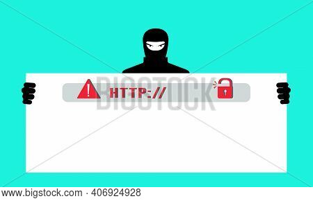 Fake Phishing Website. A Hacker Steals Personal Data, Passwords, And Accesses Users  Personal Bank C