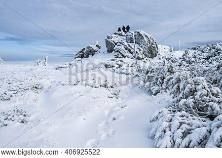 Tourist People In Big Vapenica Hill, Low Tatras Mountains, Slovak Republic. Natural Winter Scene. Hi