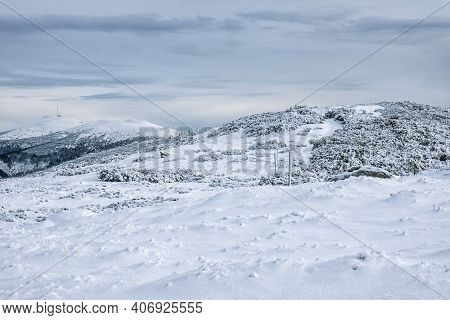 Snowy Landscape In Low Tatras Mountains, Slovak Republic. Natural Winter Scene. Hiking Theme.