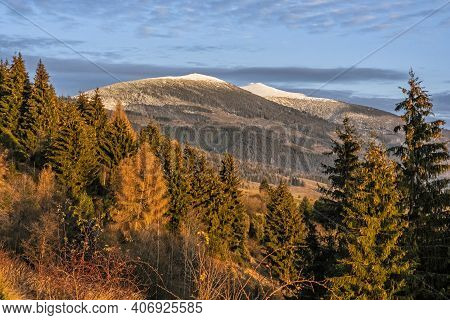 Kralova Hola Peak, Low Tatras From Helpa Village, Slovak Republic. Seasonal Sunset Scene. Travel Des