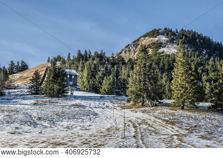 Borisov Hill With Mountain Hut, Big Fatra Mountains, Slovak Republic. Snowy Landscape. Seasonal Natu