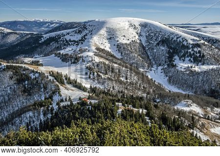 Ploska Hill With Mountain Hut From Borisov, Big Fatra Mountains, Slovak Republic. Snowy Landscape. S