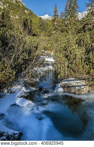 Hincov Creek In Mengusovska Valley, High Tatra Mountains, Slovak Republic. Hiking Theme.