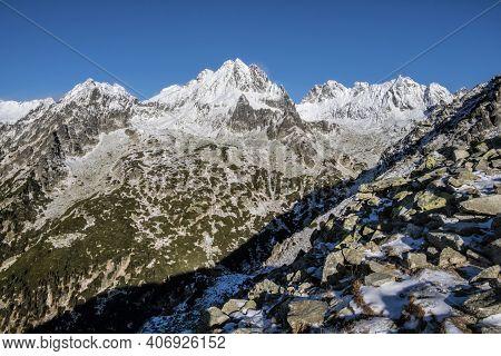 Vysoka Peak From Mountain Saddle Below Ostrva, Slovak Republic. Hiking Theme. Winter Scene.