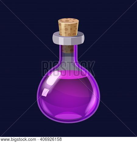 Bottle With Liquid Violet Potion Magic Elixir Game Icon Gui. Vector Illstration For App Games User I