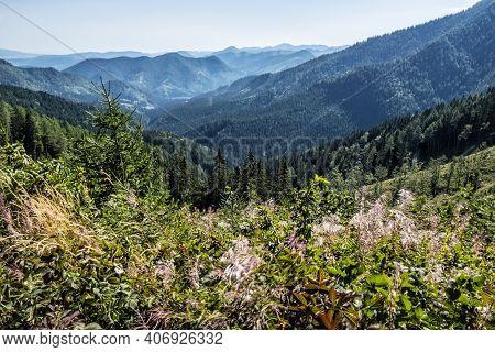 Low Tatras Scenery, Slovak Republic. Hiking Theme. Seasonal Natural Scene. End Of Summertime.