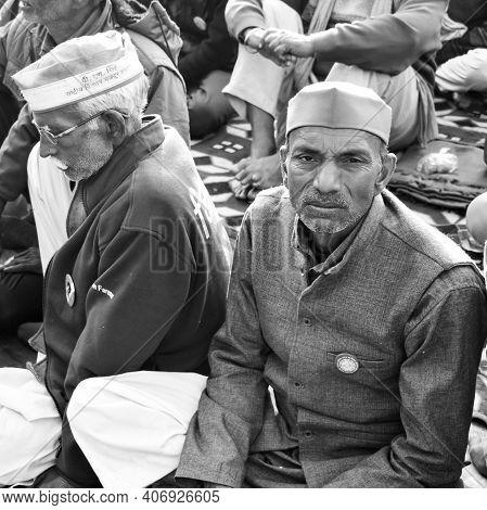 New Delhi, India – December 25 2020 : Indian Sikh And Hindu Farmers From Punjab, Uttar Pradesh And U