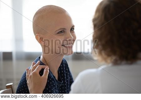 Happy Hairless Female Cancer Patient Feel Optimistic