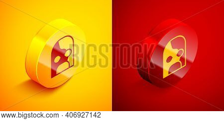 Isometric Mexican Wrestler Icon Isolated On Orange And Red Background. Circle Button. Vector