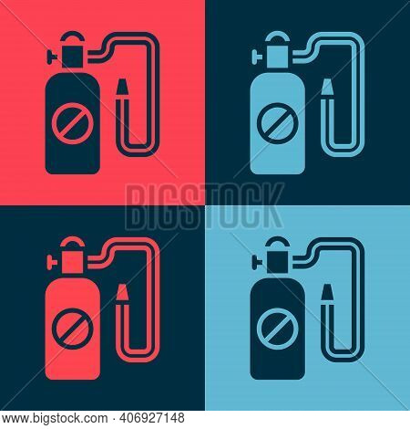 Pop Art Pressure Sprayer For Extermination Of Insects Icon Isolated On Color Background. Pest Contro