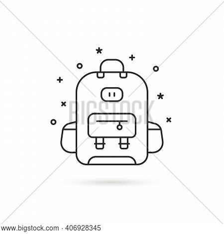 Linear Black Backpack Isolated On White. Concept Of Haversack For Hipster Or Young Man And Trip Arou